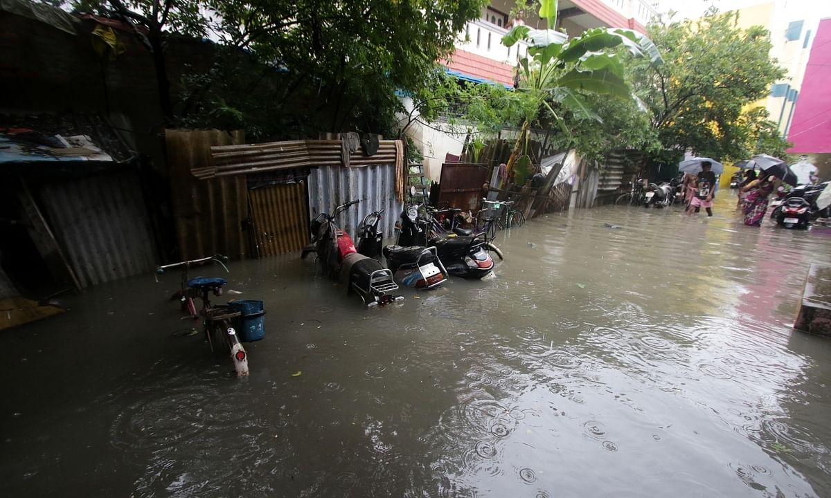 A waterlogged street in Chennai after heavy rains caused by cyclonic storm Nivar, on November 25, 2020.