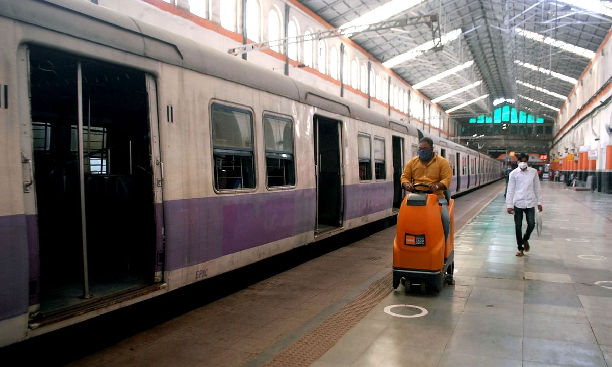 Train coaches and platforms being sanitised at the Sealdah Railway Station ahead of the reopening of railway services under which 210 local trains will run daily during office hours in Kolkata; on November 9, 2020.
