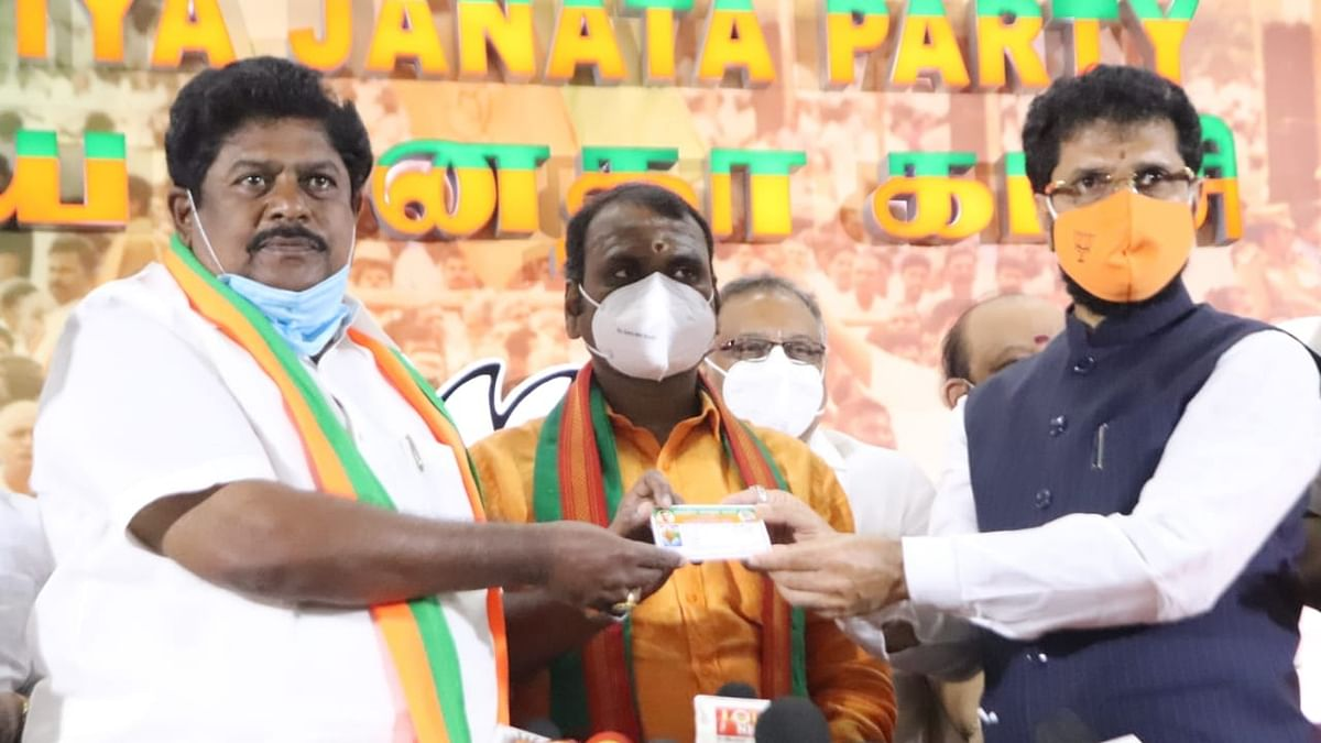 DMK's ex-MP Ramalingam joining the Bharatiya Janata Party (BJP) in Chennai, on November 21, 2020.