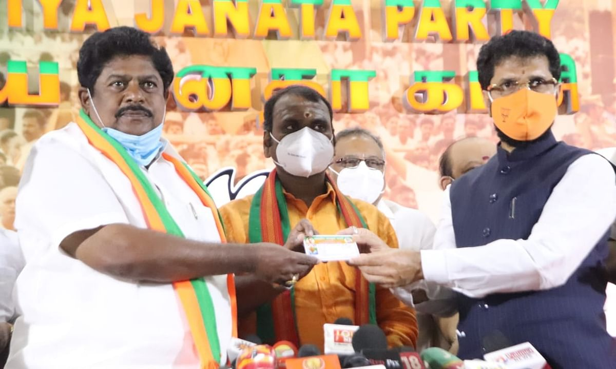 DMK's ex-MP Ramalingam joining the Bharatiya Janata Party (BJP) in Chennai, on November 21, 2020.