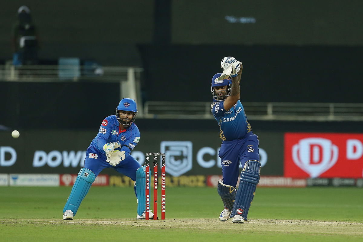 Suryakumar Yadav of Mumbai Indians in action during the Qualifier 1 against Delhi Capitals in the Indian Premier League (IPL) in Dubai, on November 5, 2020.