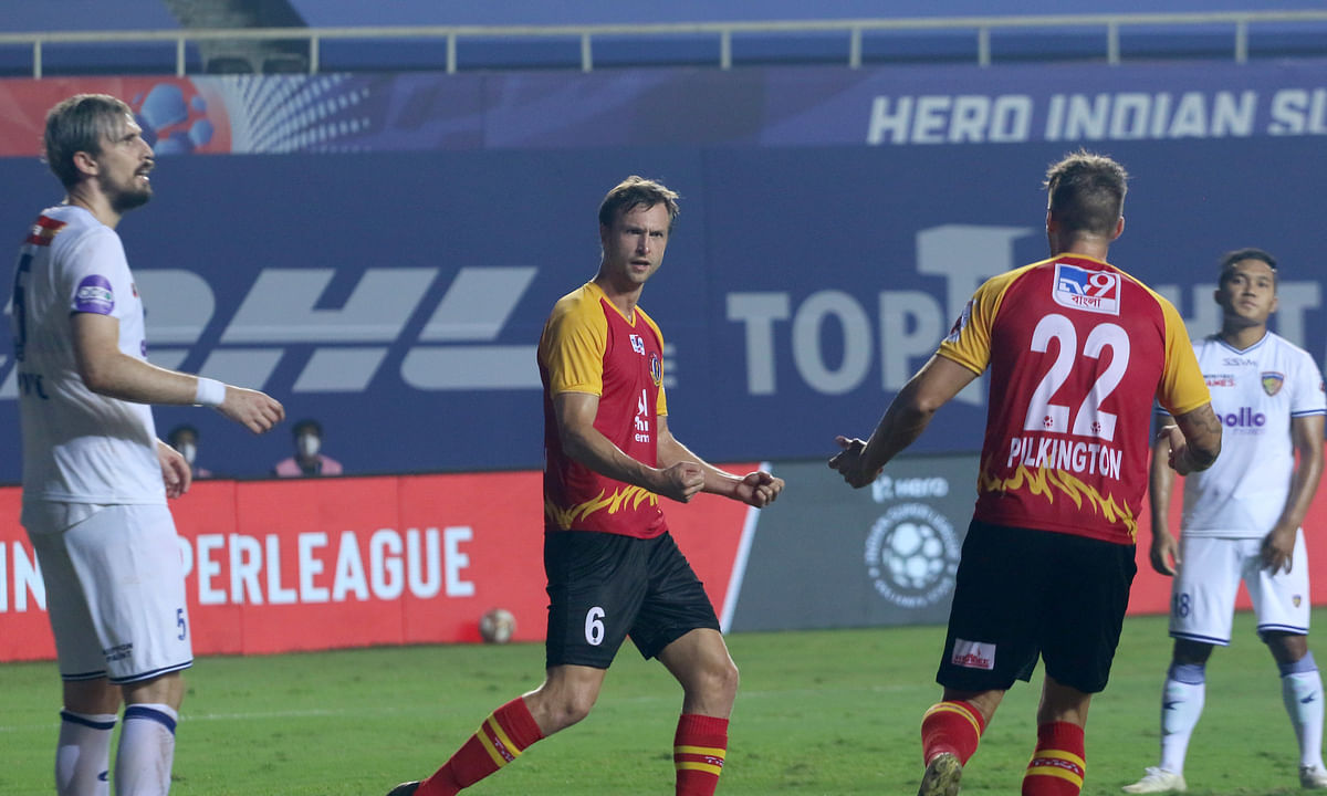 Matti Steinmann, whose two goals helped SC East Bengal earn a draw against Chennaiyin FC during match 39 of Hero ISL 7 at the Tilak Maidan Stadium in Vasco da Gama, Goa on December 26, 2020.