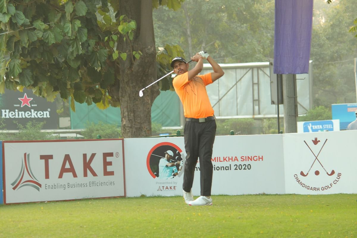 Golf: Akshay Sharma returns 68 to take halfway lead, Jeev misses the cut