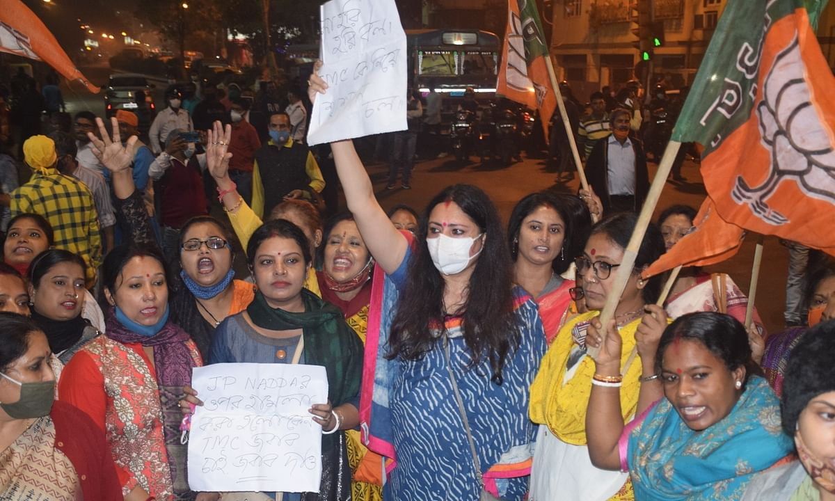 BJP's women activists led by their the party's Mahila Morcha President Agnimitra Paul holding a protest rally blocking roads over the attack on BJP national President JP Nadda's convoy in West Bengal; in Kolkata on December 10, 2020.
