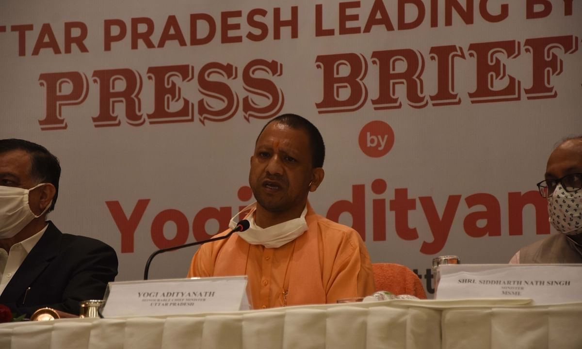 Uttar Pradesh Chief Minister Yogi Adityanath addressing a press conference in Mumbai, on December 2, 2020.
