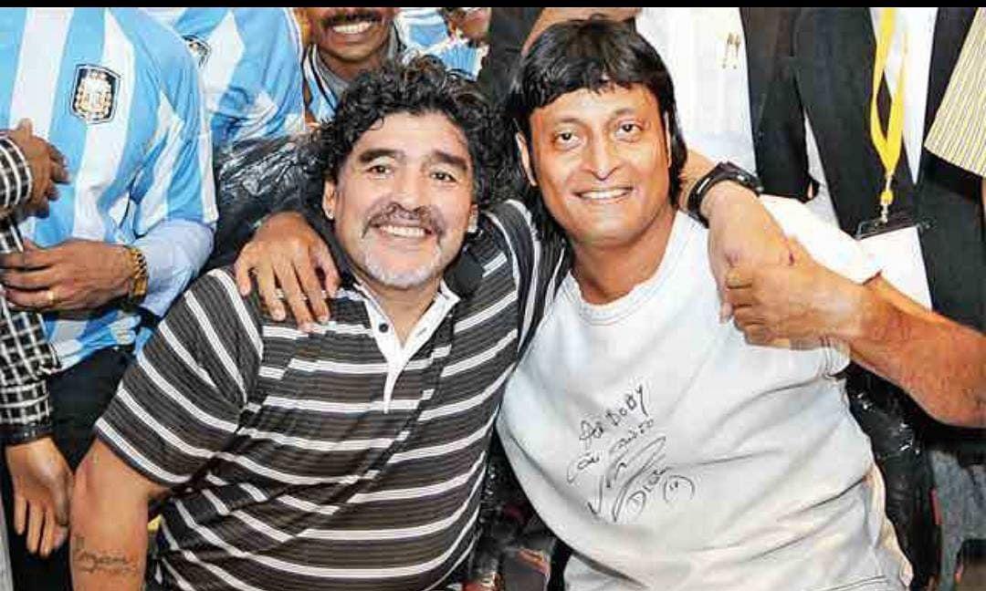 Legendary Argentinian footballer Diego Maradona with Kerala businessman Boby Chemmanur