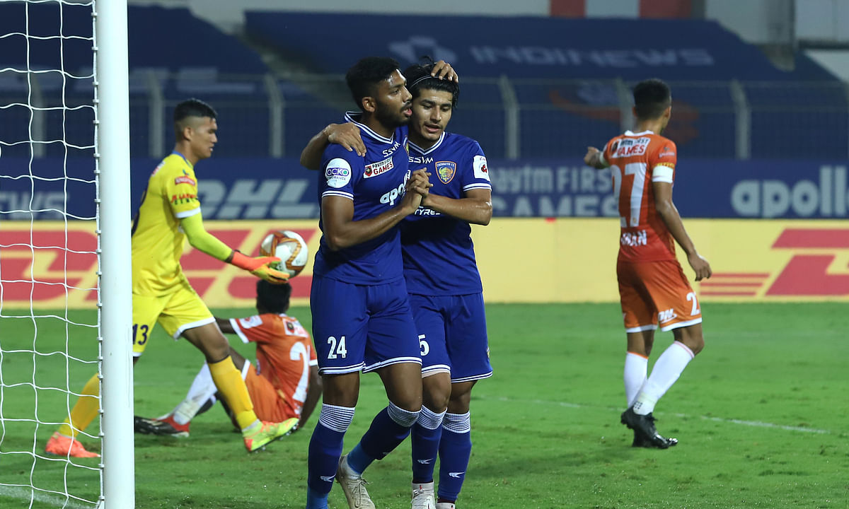 FC Chennaiyin's Rahim Ali celebrates after scoring his first goal of this ISL season during their match against Goa in the Hero ISL 7 at the Jawaharlal Nehru Stadium in Fatorda, on December 19, 2020.