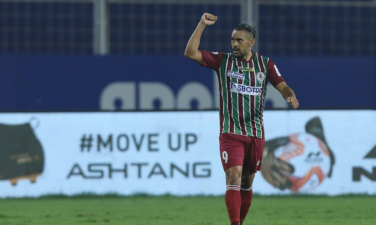 David Williams after scoring his first goal of this season to give ATK Mohun Bagan the lead against Bengaluru FC during match 36 of Hero ISL 7 at the Jawaharlal Nehru Stadium in Fatorda, on December 21, 2020.
