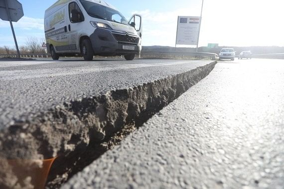 A cracked road seen after an earthquake in Sisak, Croatia, on December 29, 2020.