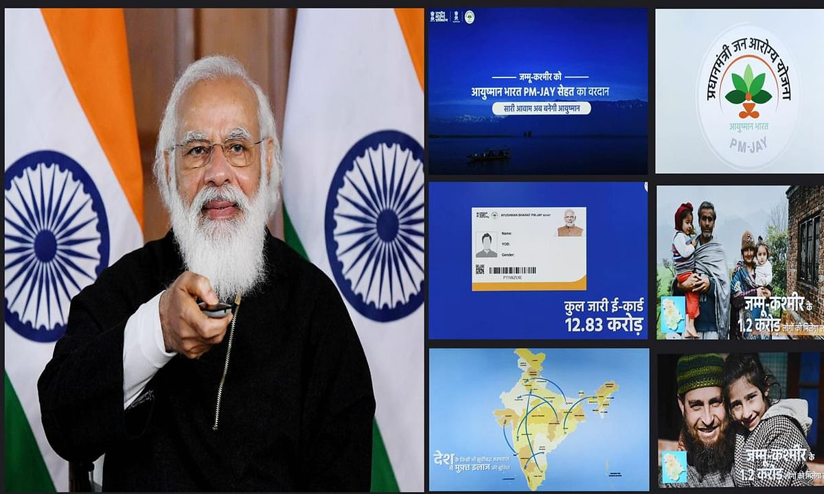 Prime Minister Narendra Modi launching the Ayushman Bharat PM-Jay Sehat healthcare scheme to extend coverage to all residents of Jammu & Kashmir, through video conference, in New Delhi, on December 26, 2020.