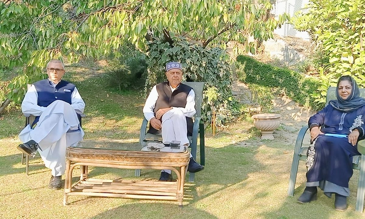 File photo of National Conference leaders Farooq Abdullah and Omar Abdullah and PDP President Mehbooba Mufti at a meeting of the leaders of the People's Alliance for Gupkar Declaration in Srinagar on October 15, 2020.
