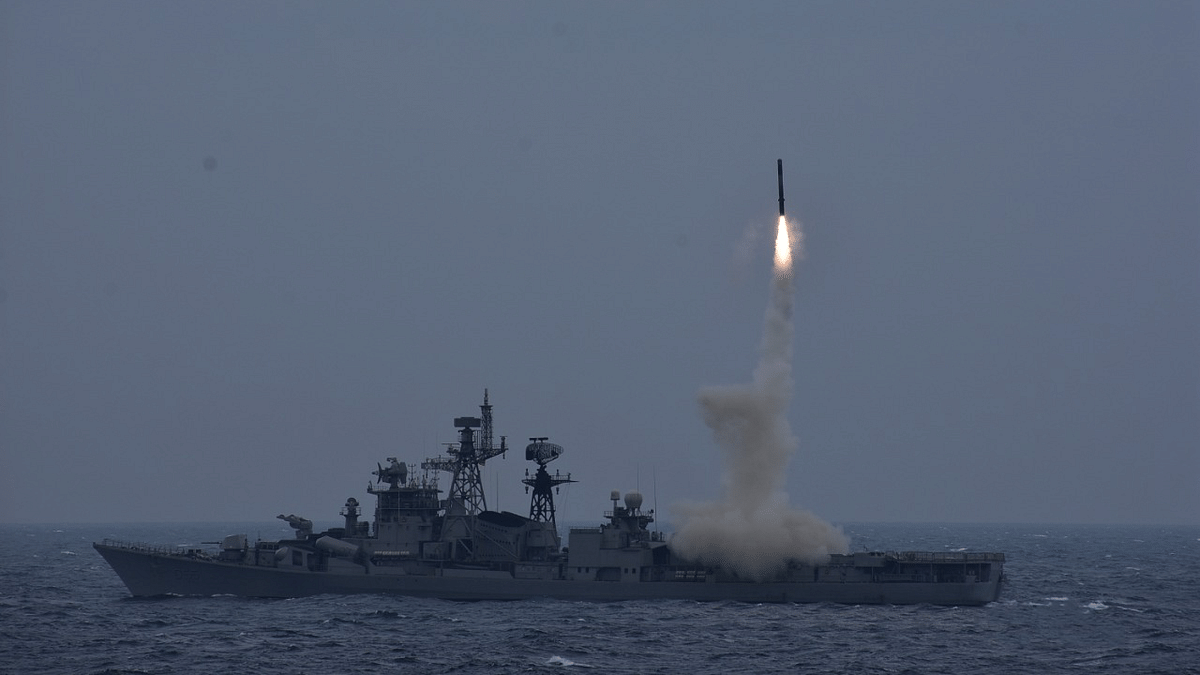 Indian Navy launches BrahMos anti-ship missile from INS Ranvijay