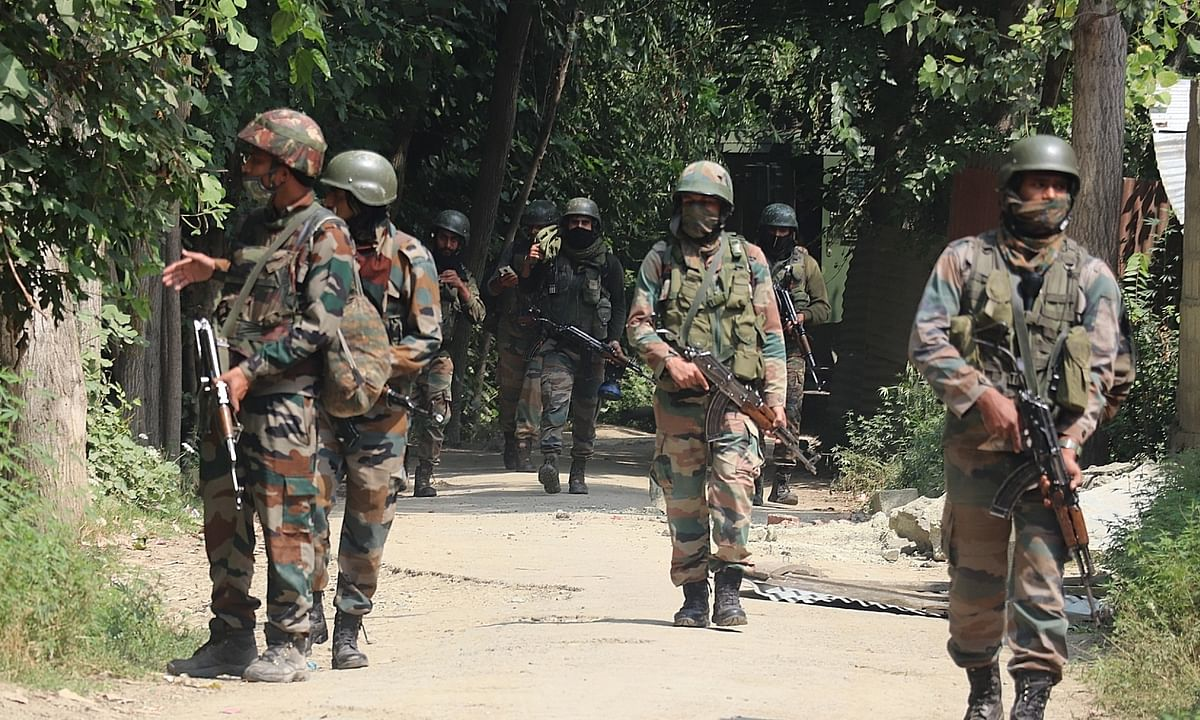 File photo of army personnel conducting a cordon and search operation after an encounter with terrorists on the outskirts of Srinagar on July 25, 2020.