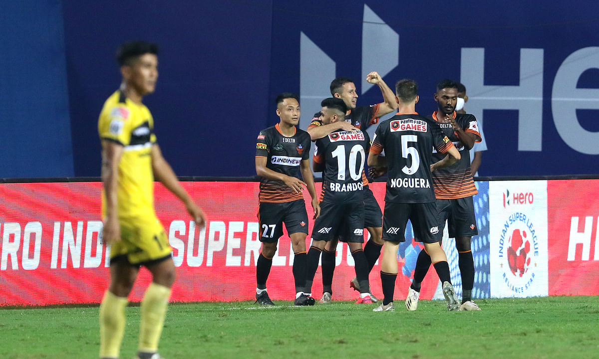FC Goa players celebrating after Igor Angulo scored the winning goal in the dying minutes of their match against Hyderabad FC in the Hero ISL7 at the Tilak Maidan Stadium at Vasco da Gama, on December 30, 2020.