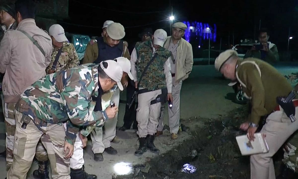 File photo of security personnel inspecting the scene of a blast near Telipati, Imphal east district in Manipur on November 3, 2019.
