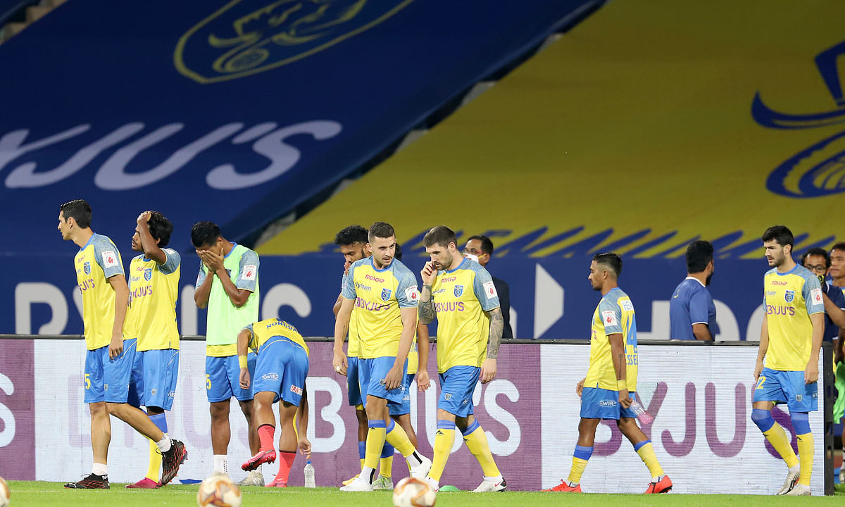 Kerala Blasters players working out ahead of their match against Hyderabad FC in the Indian Super League at Bambolim in Goa on December 27, 2020.