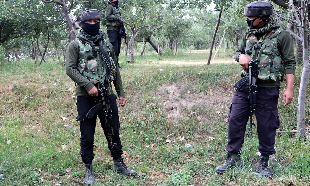 File photo of Army personnel conducting cordon and search operations after three terrorists were killed in an encounter with the security forces in South Kashmir's Shopian district on July 18, 2020.