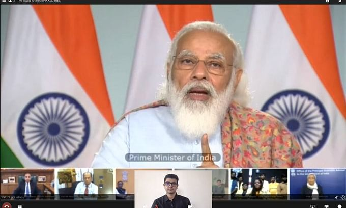 Prime Minister Narendra Modi interacting with representatives of industries, startups and academia from the space sector, via video conference, in New Delhi, on December 14, 2020.
