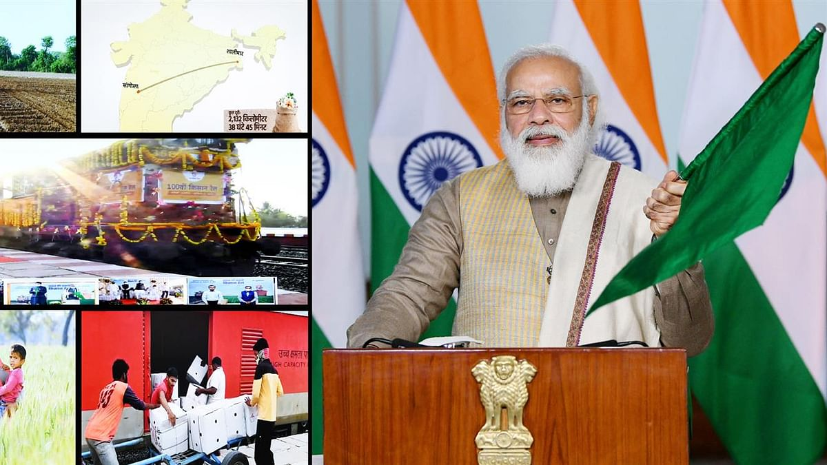 Prime Minister Narendra Modi flagging off the 100th Kisan Rail train from Sangola in Maharashtra to Shalimar in West Bengal via video conferencing, in New Delhi on December 28, 2020.