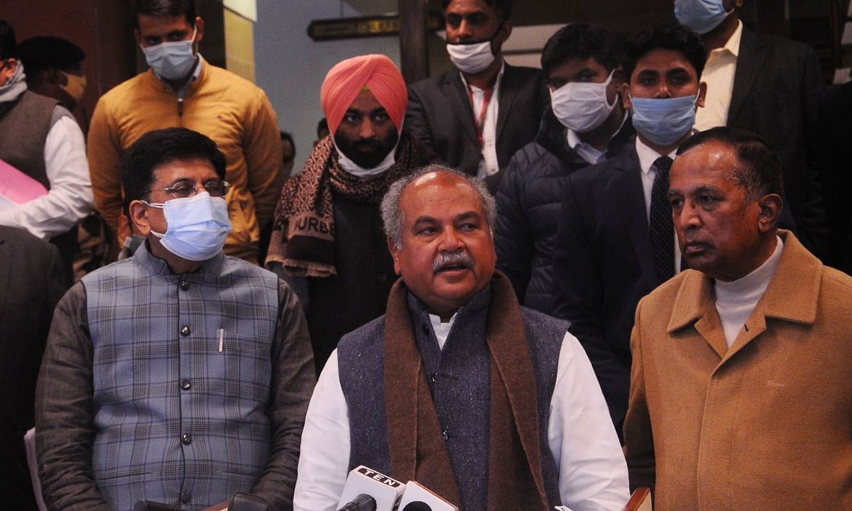 Union Agriculture Minister Narendra Singh Tomar, Consumer Affairs Minister Piyush Goyal and Union Minister of State Som Prakash address the media after holding the sixth round of talks with farmers' leaders over the three contentious farm laws at Vigyan Bhawan in New Delhi on December 30, 2020.