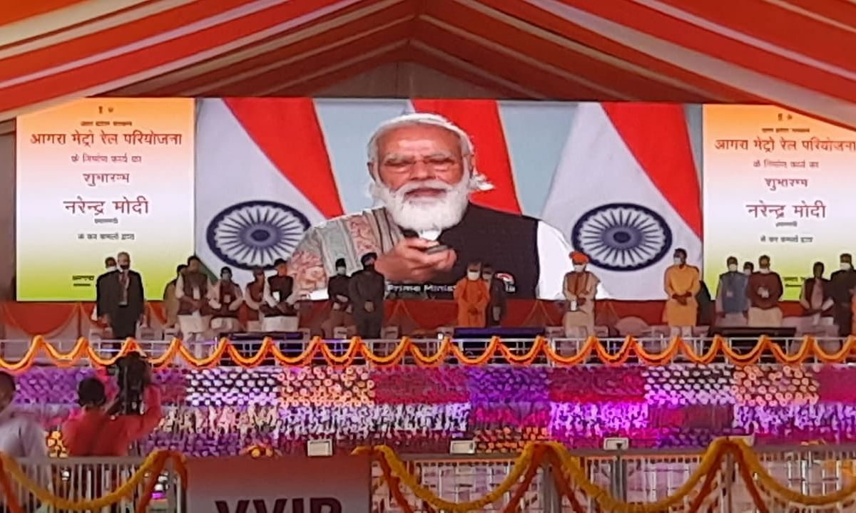 Prime Minister Narendra Modi launching the  construction work of the Agro metro rail project, via video-conference, in New Delhi on December 7, 2020.