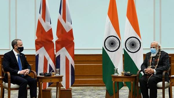 UK's Foreign Secretary Dominic Raab calls on Modi