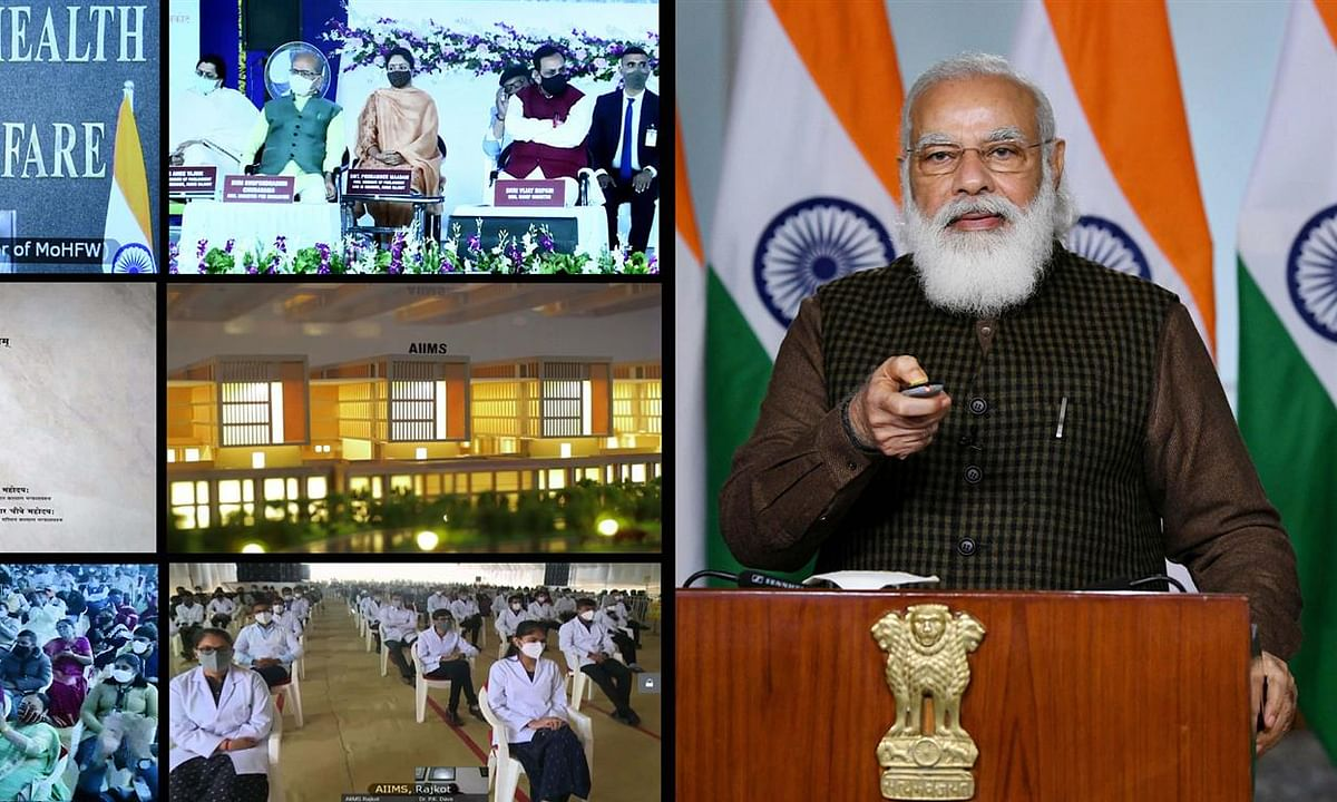 Prime Minister Narendra Modi laying the foundation stone of the All India Institute of Medical Sciences (AIIMS), Rajkot in Gujarat through video-conference, on December 31, 2020.