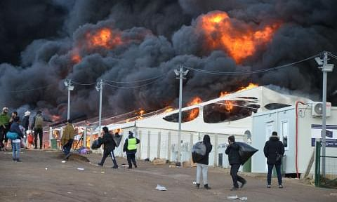The Lipa camp on fire on Wednesday. The camp had just been closed by local authorities forcing over 1,000 migrants onto the streets.