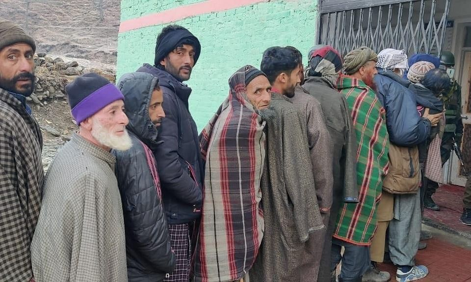 Voters queueing up to cast their votes in the second phase of elections to Jammu and Kashmir's District Development Councils, in Baramulla on December 1, 2020.
