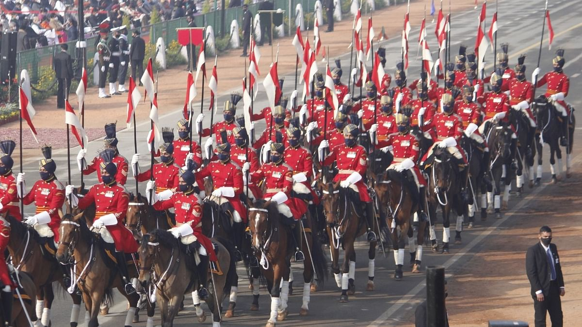 A view of the 72nd  Republic Day Parade held on Janpath in New Delhi on January 26, 2021.