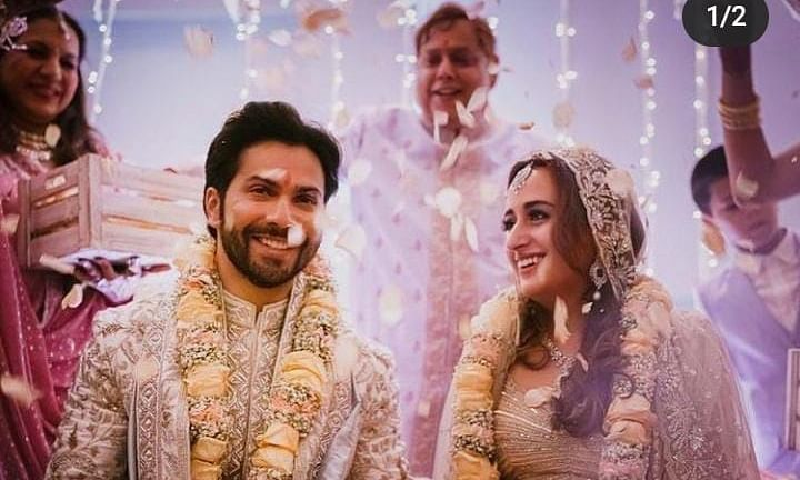 Actor Varun Dhawan shared this image of his wedding with Natasha Dalal, at Alibaug, near Mumbai, on January 24, 2021.