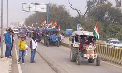 The Sanyukt Kisan Morcha (SKM) in Gurugram conducting a tractor rally 'rehearsal' in Gurugram, ahead of Republic Day, in support of the farmers' protests against the three farm laws, on January 20, 2021.