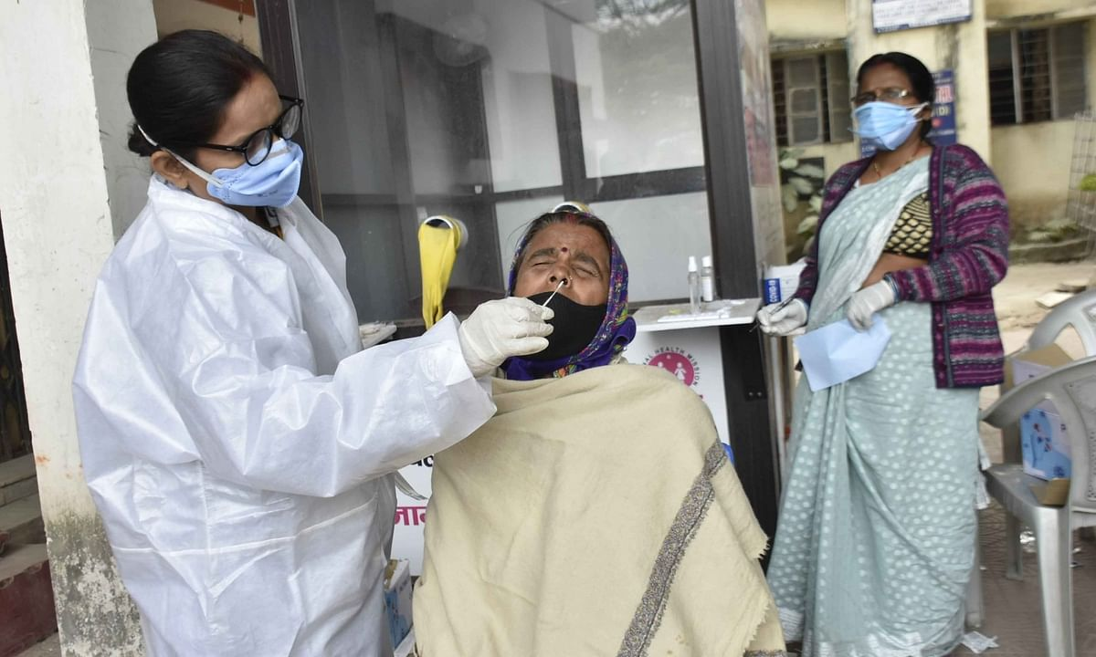 A health worker collecting samples for COVID-19 testing, in Patna on December 15, 2020.