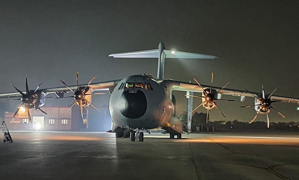 French A-400M tactical aircraft arriving for the bilateral air exercise, Desert Knight-21, between the Indian Air Force and the French Air and Space Force (Armée de l'Air et de l'Espace), at Jodhpur from January 20-24, 2021.