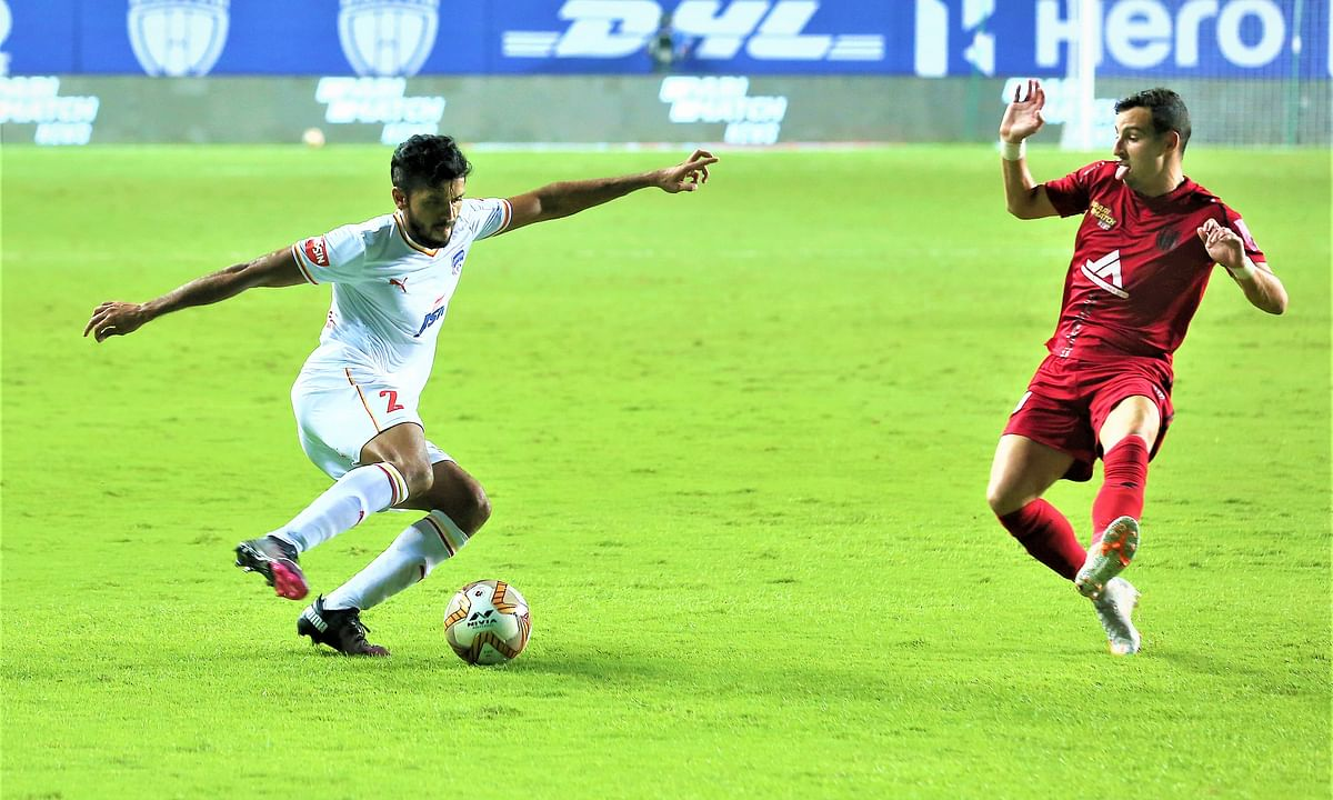 Rahul Bheke came out of nowhere to score the equaliser for Bengaluru FC assisted by the Northeast United FC goalkeeper in the Indian Super League at Vasco da Gama, on January 12, 2021.