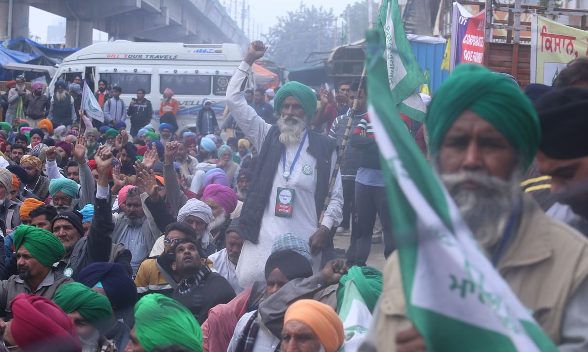 Farmers protest against the Centre's three new contentious farm laws; at Tikri on the border between Delhi and Haryana, on January 9, 2021.