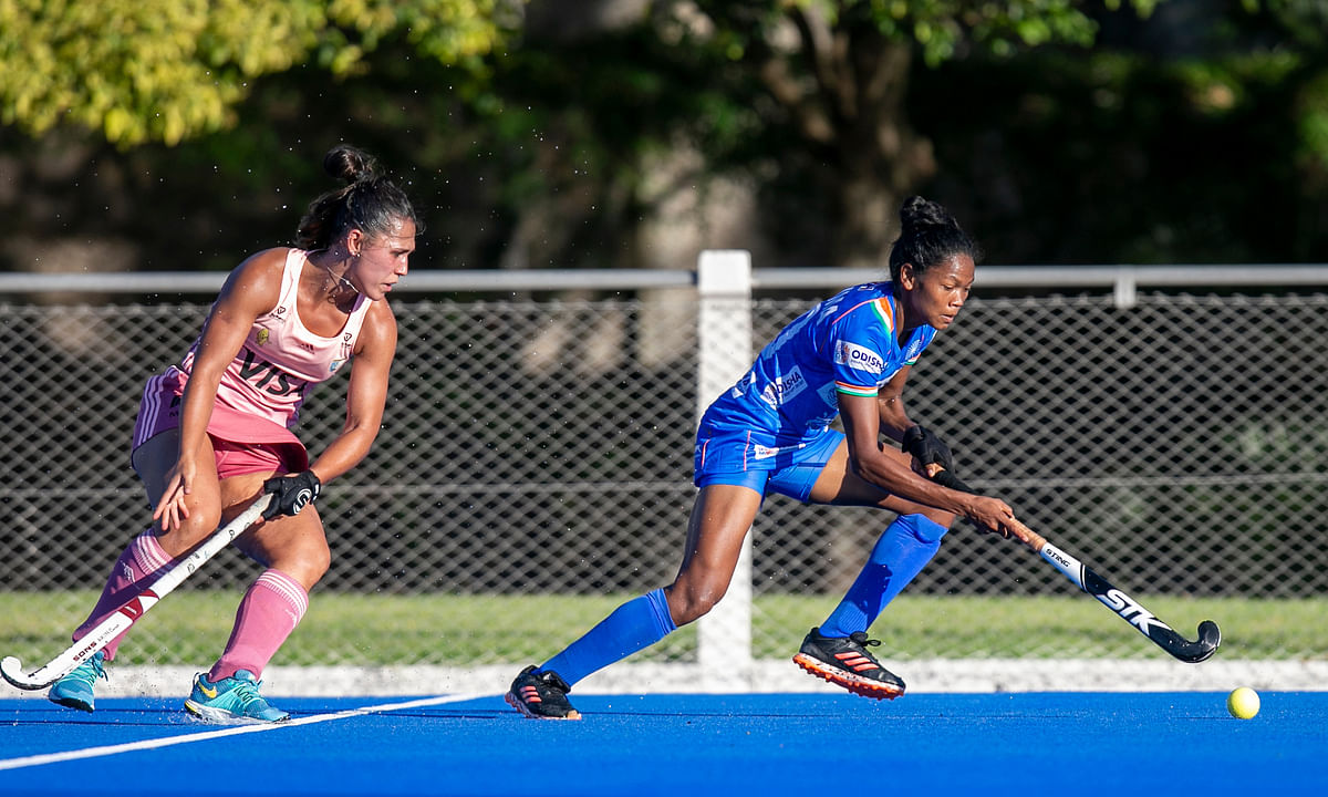 India's Salima Tete in action against Argentina 'B' in their match at Buenos Aires on January 25, 2021.