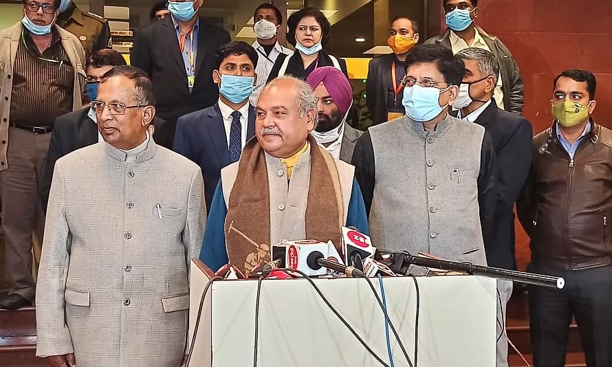 Union Agriculture Minister Narendra Singh Tomar, Consumer Affairs Minister Piyush Goyal and Union Minister of State for Commerce and Industry Som Parkash addressing a press conference after holding the seventh round of talks with agitating farmers at Vigyan Bhavan, in New Delhi on January 4, 2021.