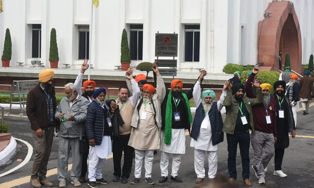 Farmers' leaders ahead of their talks with Union Agriculture Minister Narendra Singh Tomar, at Vigyan Bhavan, on January 4, 2021.