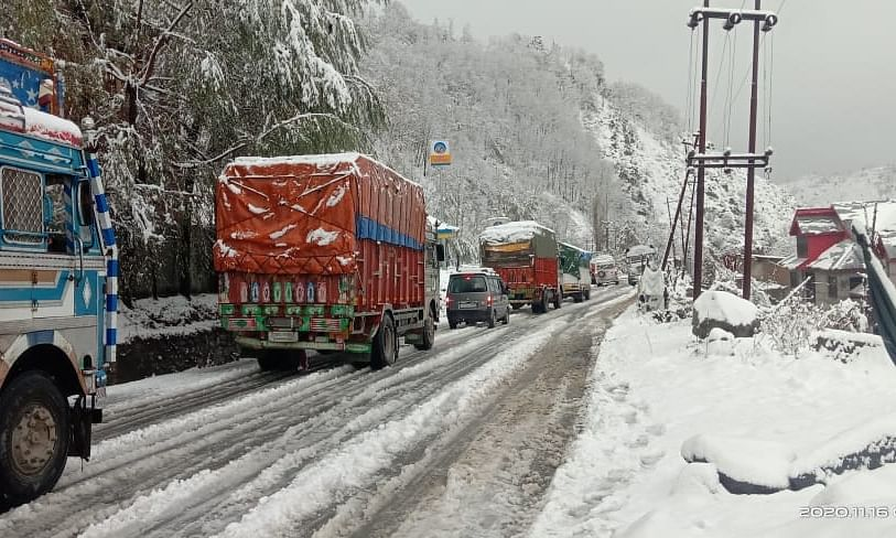 File photo of the Jammu-Srinagar National Highway that was closed for traffic due to shooting stones triggered by rains at Ramban, which is 150 kilometres from Jammu, on November 16, 2020