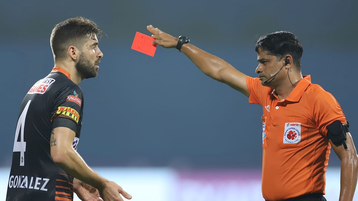 FC Goa defender Ivan Gonzalez was sent off with a second yellow to give Kerala Blasters a sniff in the second half of their match in the Indian Super League at Bambolim, Goa on January 23, 2021