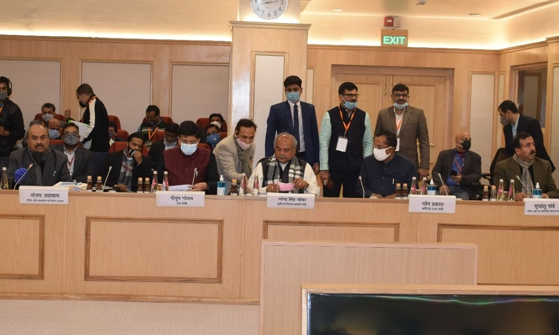 Union Agriculture Minister Narendra Singh Tomar, Consumer Affairs Minister Piyush Goyal and Minister of State for Commerce Som Parkash at the ninth round of talks with leaders of protesting farmers at Vigyan Bhavan, in New Delhi on January 8, 2021.