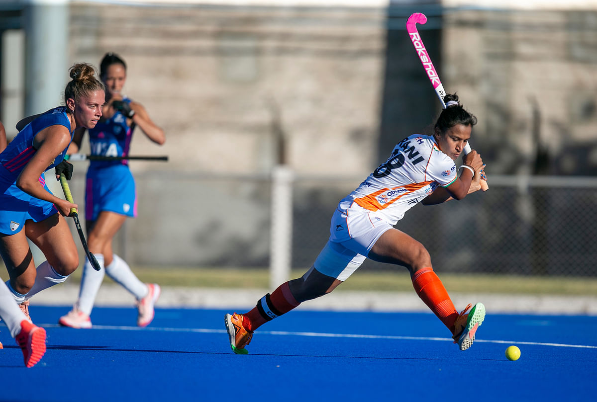 India captain Rani Rampaul in action during the match against Argentina Junior Women, in Buenos Aires on January 20, 2021.