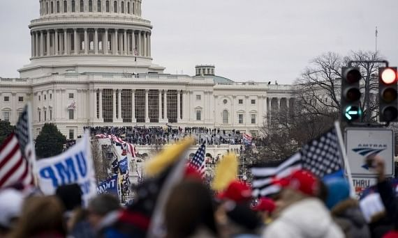 Supporters of U.S. President Donald Trump gathering near the U.S. Capitol building in Washington, D.C., the United States, on January 6, 2021.
