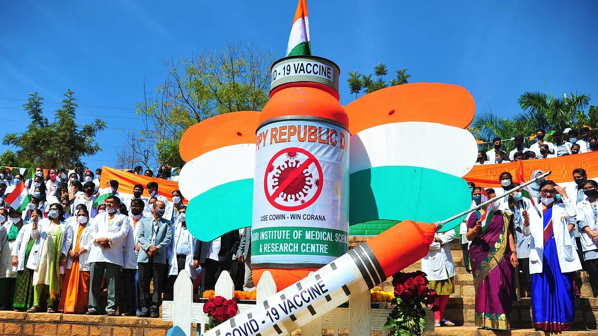 A 7-foot tricolour COVID-19 vaccine bottle and syringe made by Sapthagiri Hospital medical students and doctors to create awareness about COVID-19 vaccine,  on the occasion of the 72nd Republic day, in Bengaluru on January 25, 2021.