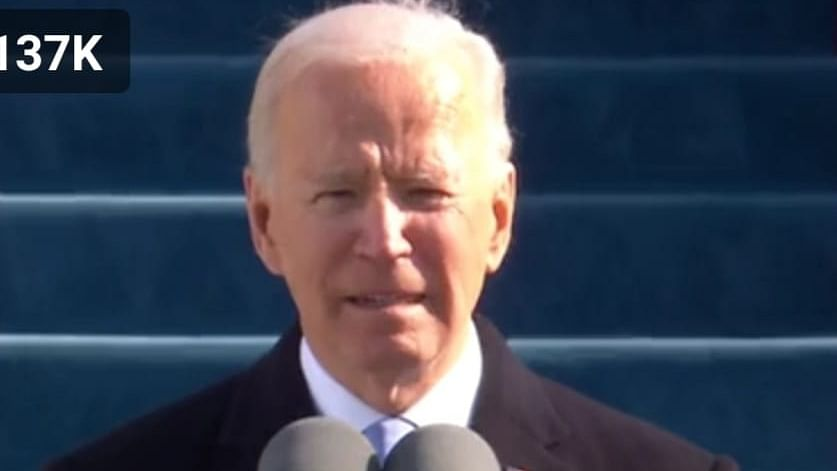 Joe Biden delivering his inaugural address after being sworn in as the 46th President of the United States of America, in Washington DC, on January 20, 2021.