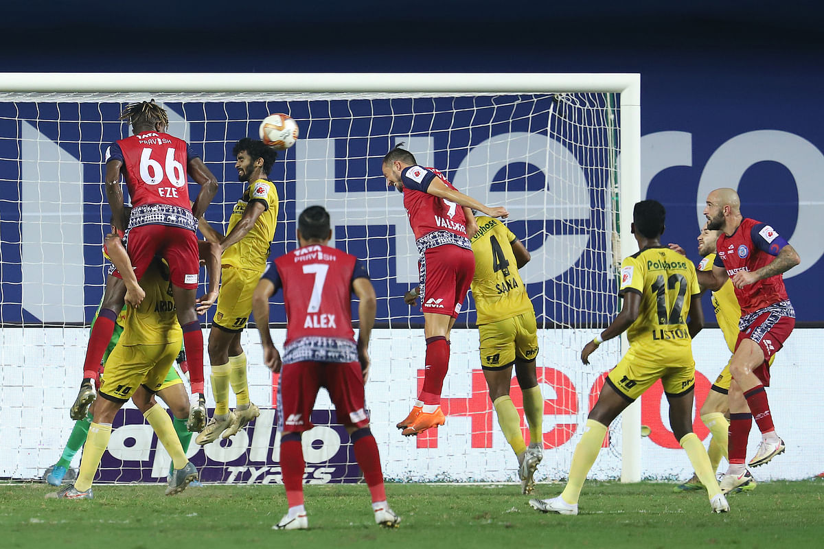 Jamshedpur FC's only attempt on goal came late in the game through a Nerijus Valskis header in theirmatch against Hyderabad FC in the Indian Super League at Vasco da Gama on January 24, 2021