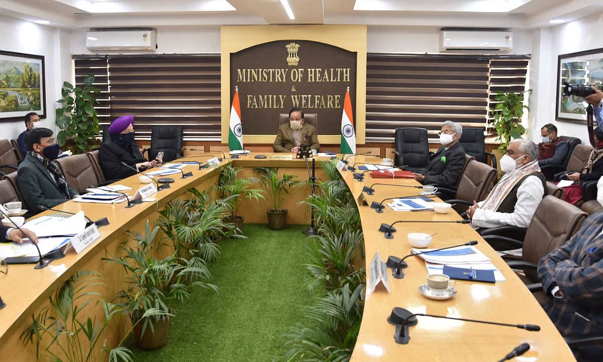 Union Minister of Health & Family Welfare Harsh Vardhan chairing the 23rd meeting of the high-level Group of Ministers on COVID-19, in New Delhi on January 28, 2021.