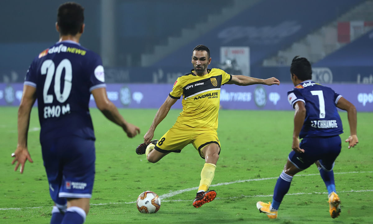 Joao Victor of Hyderabad FC displaying some magic as he scored his first goal in their match against FC Chennaiyin in the Indian Super League at Bambolim, Goa on January  4, 2021.