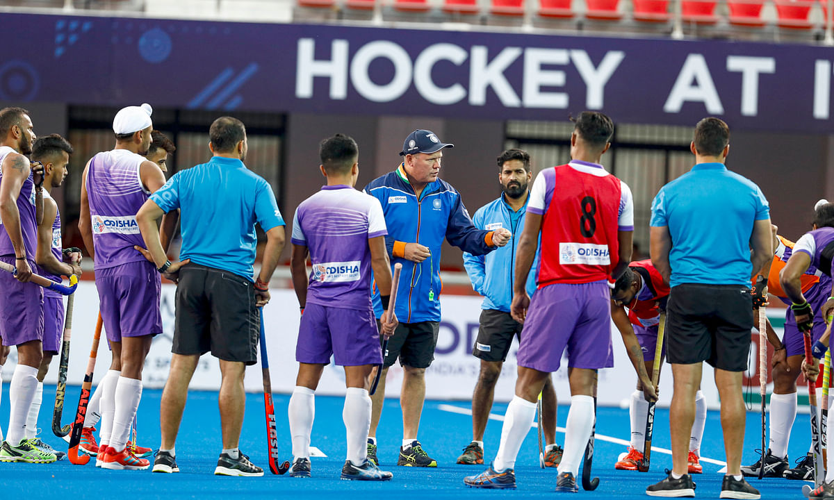 Indian men's hockey team chief coach Graham Reid with players.